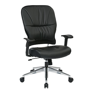 Space Seating Leather Computer and Desk Office Chair, Fixed Arms, Black (32-E33P918P)