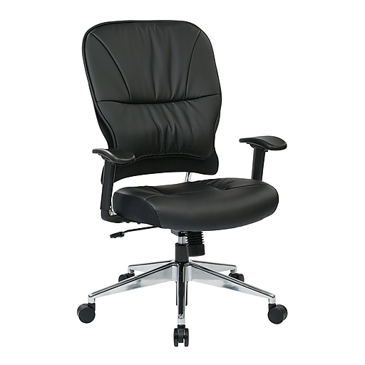 Space Seating Managers Leather Chair, Black
