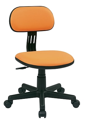 OSP Designs Fabric Computer and Desk Office Chair, Armless, Orange Fabric (499-18)