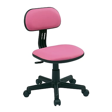 OSP Designs Fabric Computer and Desk Office Chair, Armless, Pink (499-261)