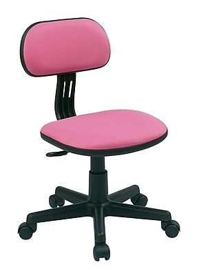 OSP Designs Fabric Computer and Desk Office Chair, Armless, Pink Fabric (499-261)