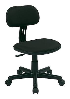 OSP Designs Fabric Computer and Desk Office Chair, Armless, Black Fabric (499-3)