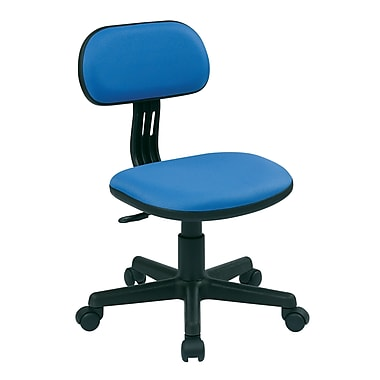 OSP Designs Fabric Computer and Desk Office Chair, Armless, Blue Fabric (499-7)