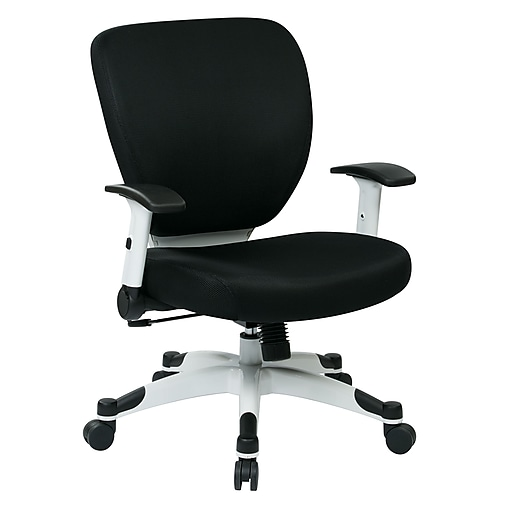 Office Star Space Seating Pulsar White Finish Frame Managers Chair, Black Fabric