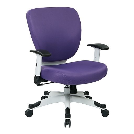 Office Star Space Seating Pulsar White Finish Frame Managers Chair, Purple Fabric