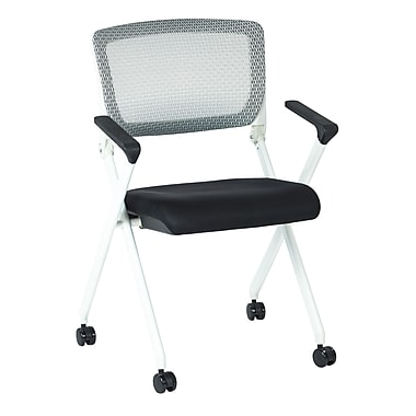 Office Star Space Seating Pulsar White Finish Frame Managers Chair with Screen Back & Black Padded Fabric Seat - 2/Pack
