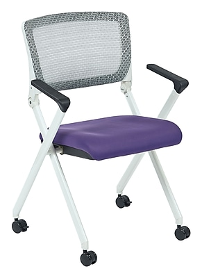 Office Star Space Seating Pulsar White Finish Frame Chair with Screen Back & Purple Padded Fabric Seat - 2/Pack