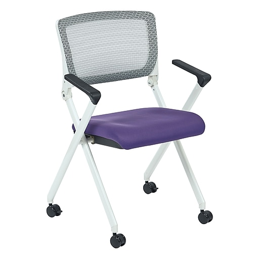 Office Star Spaceing Pulsar White Fin Frame Managers Chair w/Screen Back & Purple Padded Fabric-2/Pk