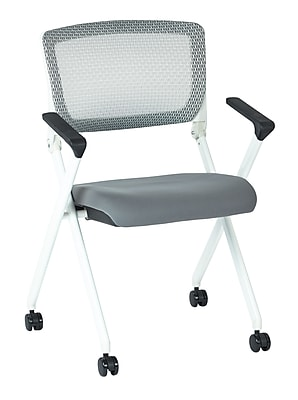 Office Star Space Seating Pulsar White Finish Frame Managers Chair with Screen Back & Dove Steel Padded Fabric Seat - 2/Pack