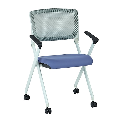 Office Star Spaceing Pulsar White Fin Frame Manager Chair w/Screen Back & Violet Padded Fabric-2/Pk