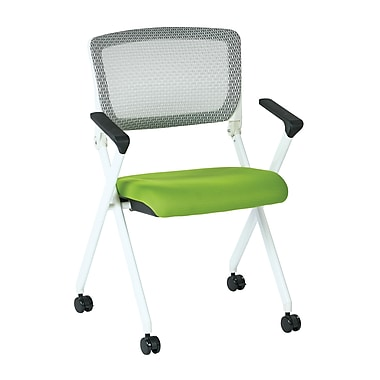 Office Star Space Seating Pulsar White Finish Frame Managers Chair with Screen Back & Green Padded Fabric Seat - 2/Pack