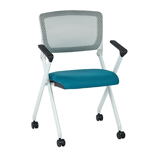 Office Star Spaceing Pulsar White Fin Frame Managers Chair w/Screen Back & Blue Padded Fabric - 2/Pk