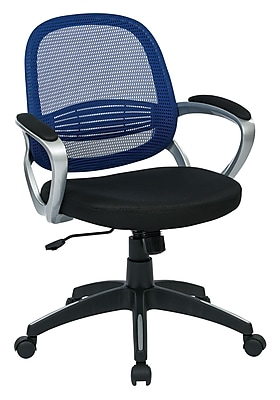 OSP Designs Bridgeport Plastic Computer and Desk Office Chair, Fixed Arms, Navy (BRGA26-R5)