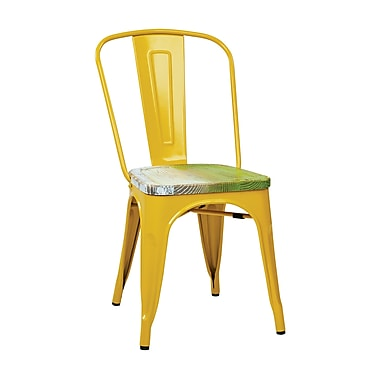 OSP Designs Bristow Side Chairs Metal & Wood, Yellow & Pine Alice, 2 pk