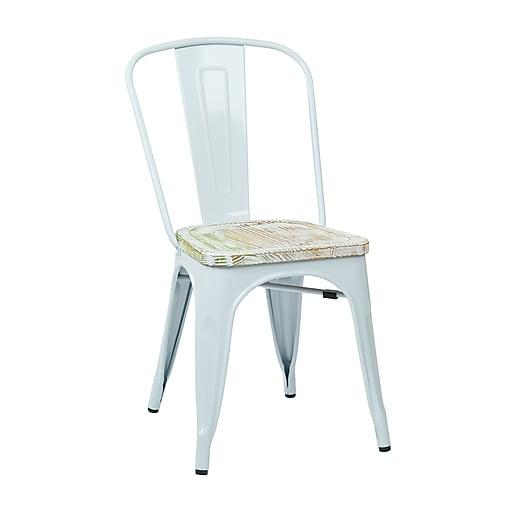 OSP Designs Bristow Metal & Wood Chair with Vintage Seat, White & Pine Irish, 2 pk