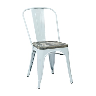 OSP Designs Bristow Metal & Wood Chair, Ash Crazy Horse, 4 pk