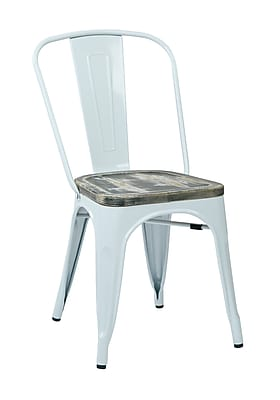 OSP Designs Bristow Metal & Wood Chair with Vintage Seat, White & Ash Crazy Horse, 2 pk