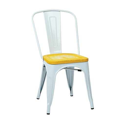 OSP Designs Bristow Metal & Wood Chair with Vintage Seat, White & Ash Yellowstone, 2 pk