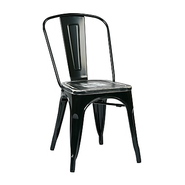 OSP Designs Bristow Metal & Wood Chair with Vintage Seat, Black & Ash Crazy Horse