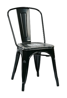 OSP Designs Bristow Metal & Wood Chair with Vintage Seat, Ash Crazy Horse
