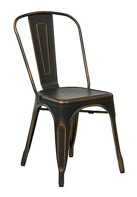 OSP Designs Bristow 4 Piece Armless Metal Chair, Antique Copper