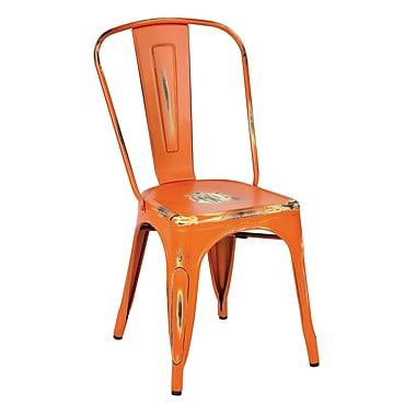 OSP Designs Bristow 4 Piece Armless Metal Chair, Antique Orange, 4 pk