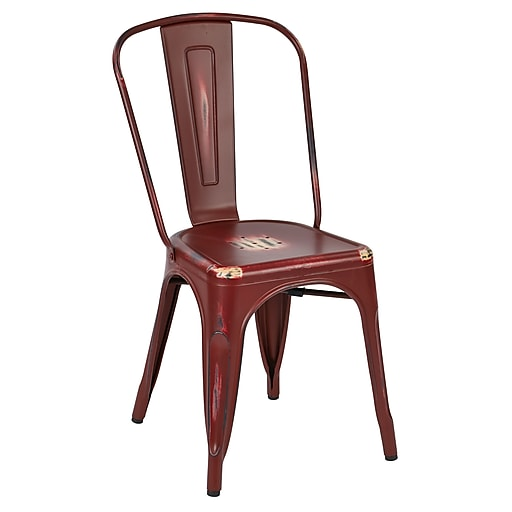 OSP Designs Bristow Armless Metal Chair, Antique Red