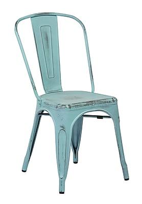 OSP Designs Bristow 4 Piece Armless Metal Chair, Antique Sky Blue