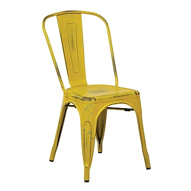 OSP Designs Bristow Armless Metal Chair, Antique Yellow with Blue Specks, 2 pk