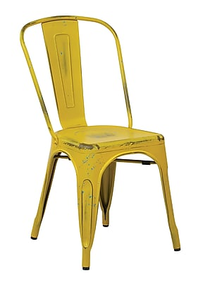 OSP Designs Bristow 4 Piece Armless Metal Chair, Antique Yellow with Blue, 4 pk