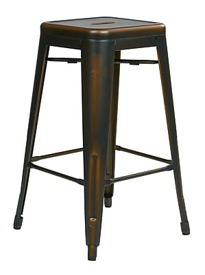 OSP Designs Bristow 26.25'' Casual Legged Base Bar Stool, Antique Copper (BRW3026A4-AC)