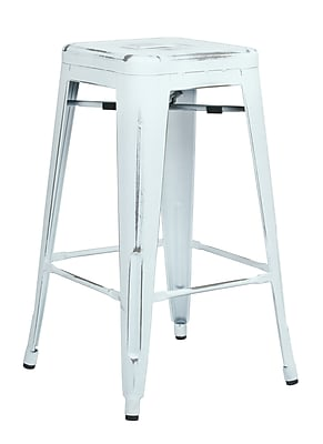 OSP Designs Bristow 26.25'' Industrial Foot Ring/Bar Bar Stool, White (BRW3026A4-AW)