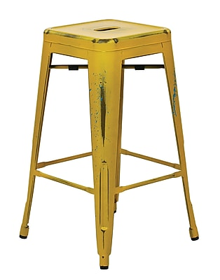 OSP Designs Bristow Metal Barstool, Antique Yellow with Blue, 4 pk