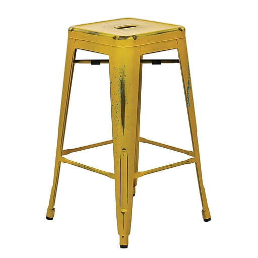 OSP Designs Bristow 26-inch Metal Barstool, Antique Yellow with Blue Specks, 2 pk
