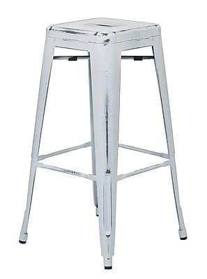 OSP Designs Bristow 30'' Contemporary Legged Base Bar Stool, Antique White (BRW3030A2-AW)