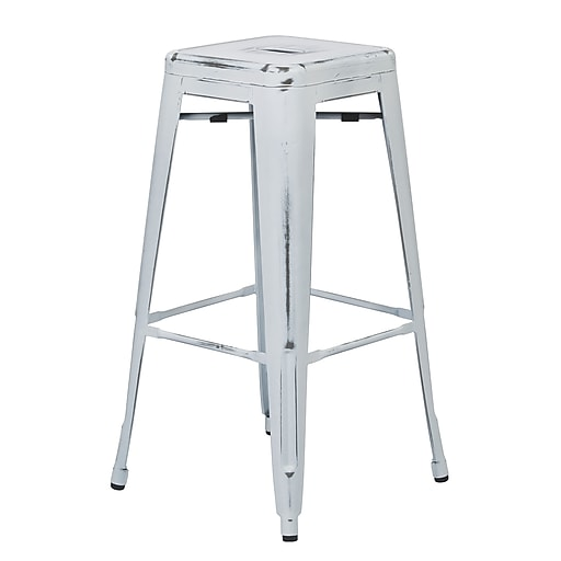 OSP Designs Bristow Antique Metal Barstool, Antique White, 4 pk