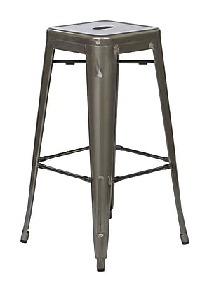 OSP Designs Bristow 30'' Contemporary Legged Base Bar Stool, Gun Metal (BRW3030A2-GM)