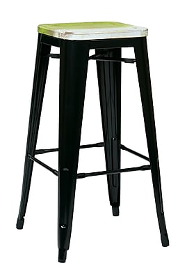 OSP Designs Bristow 30'' Casual Legged Base Bar Stool, Pine Alice (BRW31303A4-C307)