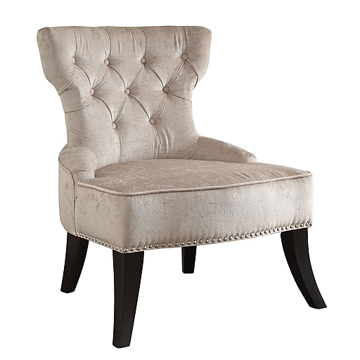 Ave Six Colton Vintage Velvet Polyester; Fabric & Wood Tufted Side Chair, Brilliance Parchment Cream