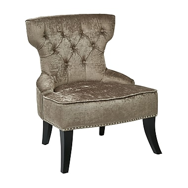 Ave Six Colton Vintage Velvet Polyester, Fabric & Wood Tufted Side Chair, Brilliance Otter