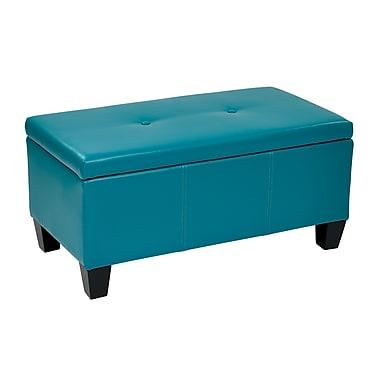 Ave Six Detour Leather & Wood Storage Bench, Light Blue