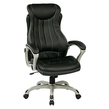 Work Smart Leather Computer and Desk Office Chair, Fixed Arms, Silver/Black (ECH31826-EC3)