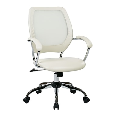 Work Smart Designer Mesh Computer and Desk Office Chair, Fixed Arms, White (EM52022C-U11)