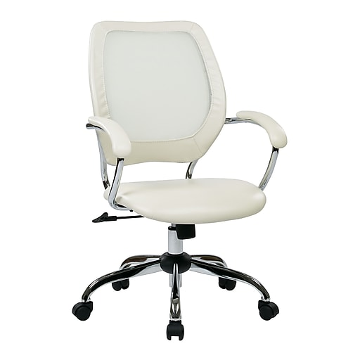 Work Smart Designer Screen Back Managers Metal & Mesh Chair, White
