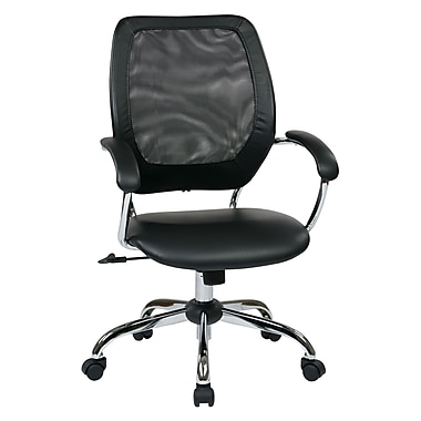 Work Smart Mesh Computer and Desk Office Chair, Fixed Arms, Black (EM52022C-U6)