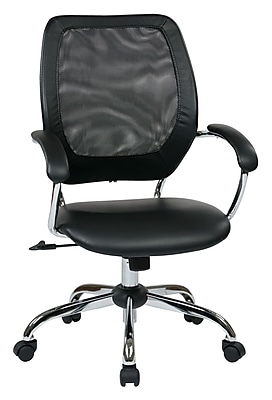Work Smart Designer Screen Back Managers Metal & Mesh Chair, Black