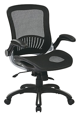 Work Smart WorkSmart Leather Computer and Desk Office Chair, Fixed Arms, Silver/Black (EMH69006)