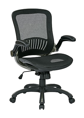 Work Smart WorkSmart Leather Computer and Desk Office Chair, Fixed Arms, Black/Titanium (EMH69007)