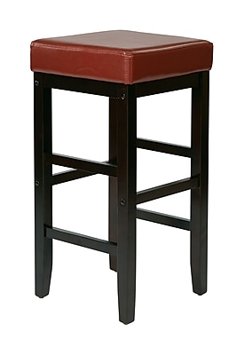 OSP Designs 30'' Casual Foot Ring/Bar Polyurethane Bar Stool, Red (ES30VS3RD)