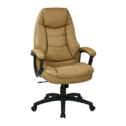 Work Smart Faux Leather Computer and Desk Office Chair, Fixed Arms, Tan (FL3422-U31)